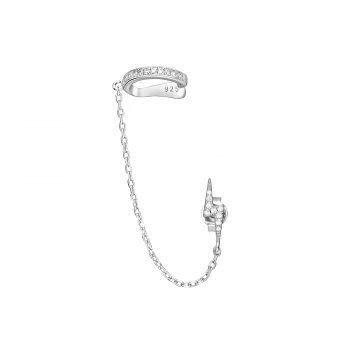 Ear cuff bliksem ketting oorbel zirkonia zilver gerhodineerd EIP01-01-00381 8720514750070