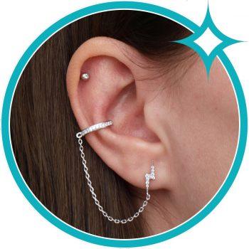 Ear cuff bliksem ketting oorbel zirkonia zilver gerhodineerd EIP01-01-00381 8720514750070 oor