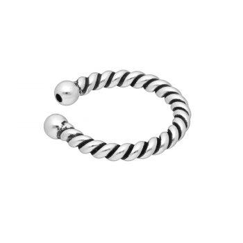 Ear cuff gedraaid zilver geoxideerd EIP01-01-00631 8720514750384