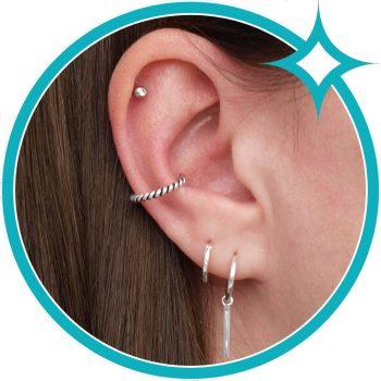 Ear cuff gedraaid zilver geoxideerd EIP01-01-00631 8720514750384 oor