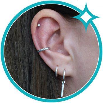 Ear cuff golven zee zilver geoxideerd EIP01-01-00671 8720514750421 oor