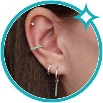 Ear cuff groen zirkonia zilver gerhodineerd EIP01-01-00761 8720514750162