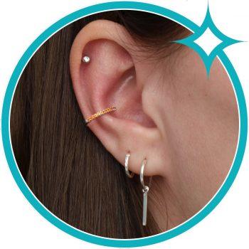 Ear cuff oranje zirkonia zilver gerhodineerd EIP01-01-00763 8720514750186 oor