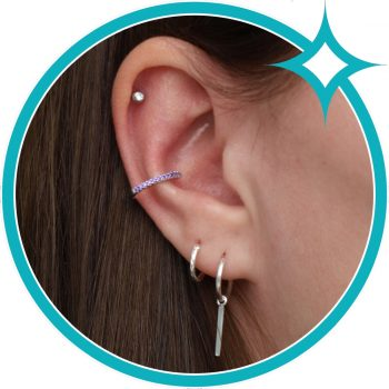 Ear cuff paars zirkonia zilver gerhodineerd EIP01-01-00764 8720514750193 oor