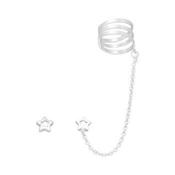 Ear cuff ster ketting oorbel zilver EIP01-01-00471 8720514750230