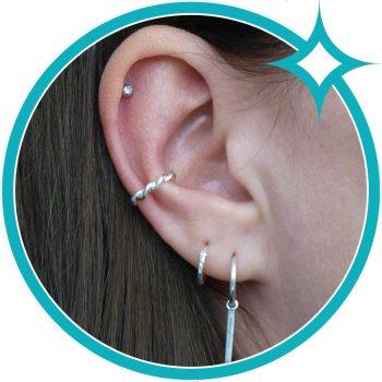 Ear cuff zilver gedraaid EIP01-01-00521 8720514750278 oor