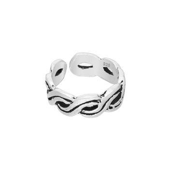 Ear cuff zilver geoxideerd gevlochten EIP01-01-00651 8720514750407