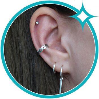 Ear cuff zilver geoxideerd gevlochten EIP01-01-00651 8720514750407 oor