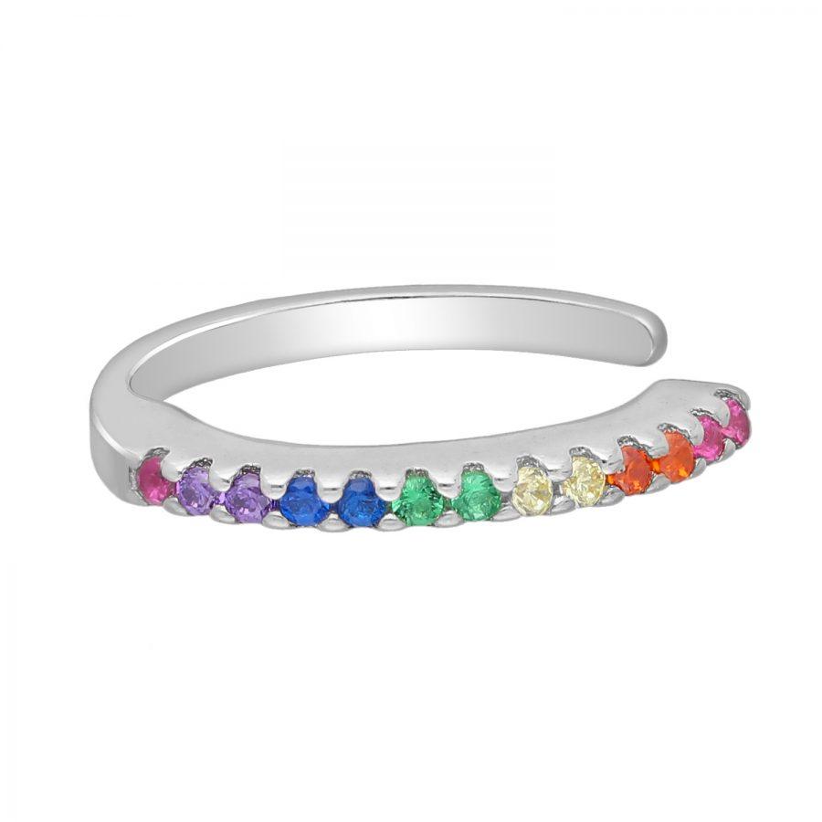 Ear cuff zirkonia zilver LGBT regenboog gerhodineerd EIP01-01-00311 8720514750018