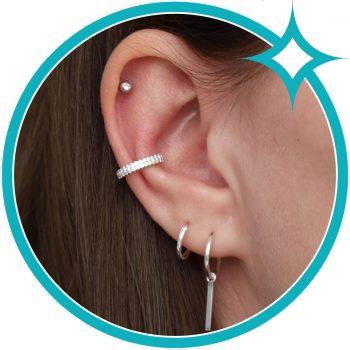 Ear cuff zirkonia zilver gerhodineerd oor