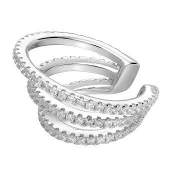 Ear cuff zirkonia zilver gerhodineerd EIP01-01-00371 8720514750063 zijaanzicht