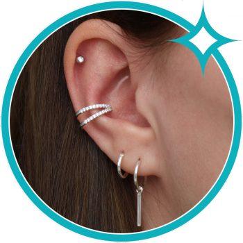 Ear cuff zirkonia zilver gerhodineerd EIP01-01-00441 8720514750131 oor