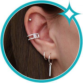 Ear cuff zirkonia zilver gerhodineerd EIP01-01-00451 8720514750148 oor